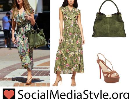 Sofia Vergara's ruffled green floral print dress, green suede bag, and brown platform sandals