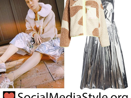 Brie Larson's brown camo fleece jacket and metallic dress