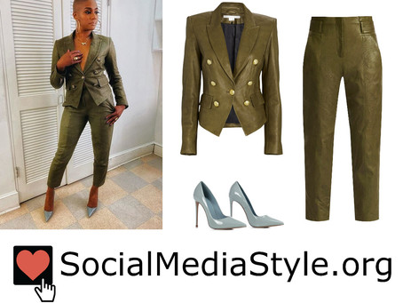 Tiffany Haddish's olive green leather jacket and pants and pale blue pumps
