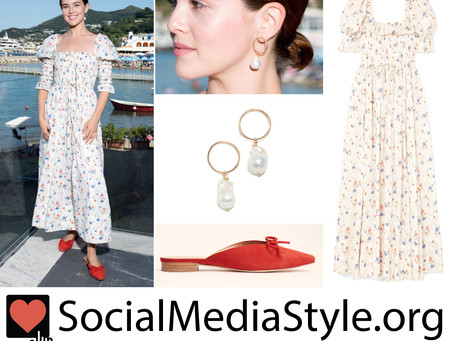 Zoey Deutch's floral print dress and accessories from the 2019 Ischia Global Film & Music Fest