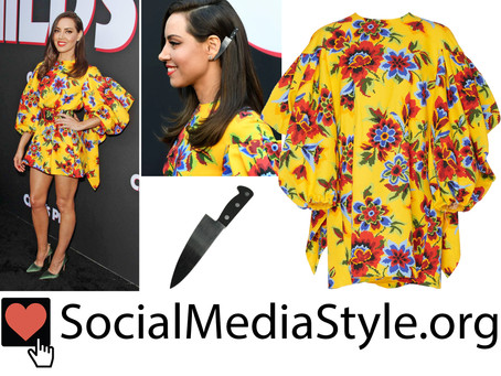 Aubrey Plaza's yellow floral print dress and knife barrette from the Child's Play premiere