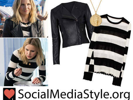 Veronica (Kristen Bell)'s leather jacket, striped sweater, & Joan of Arc necklace from Veronica Mars