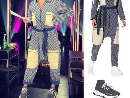 Heidi Klum's Jonny Cota jumpsuit from Making the Cut and knit Balenciaga sneakers