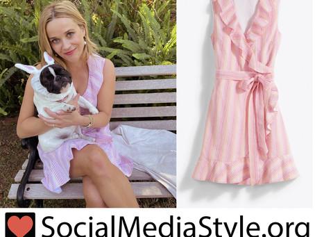 Reese Witherspoon's Draper James ruffled pink seersucker striped dress