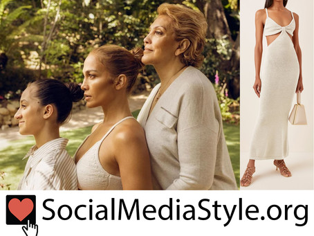Jennifer Lopez's cutout ivory knit dress