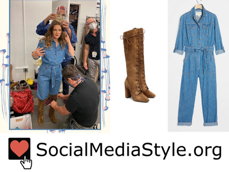 Drew Barrymore's denim jumpsuit and brown boots from The Drew Barrymore Show
