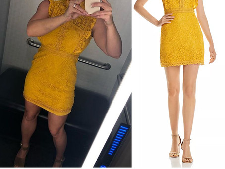 Britney Spears' ruffled yellow lace dress