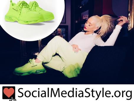 Christina Aguilera's Balenciaga neon sneakers