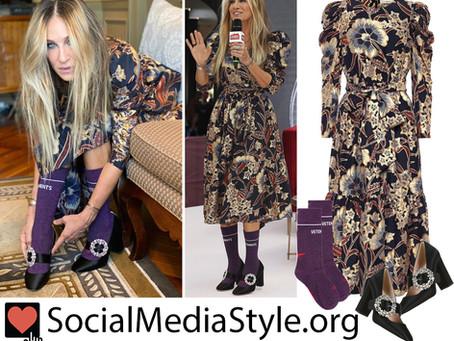 Sarah Jessica Parker's metallic floral print dress, purple socks, and big buckle Mary Jane pumps
