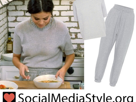 Selena Gomez's light blue and grey sweater and sweatpants from Selena + Chef