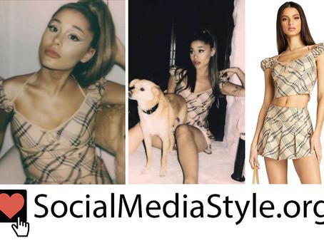 Ariana Grande's camel plaid cold shoulder top and skirt