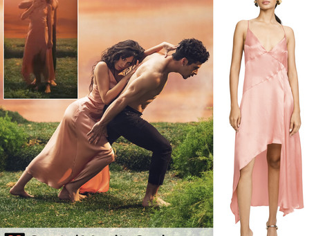 Camila Cabello's pink slip dress from the Living Proof music video