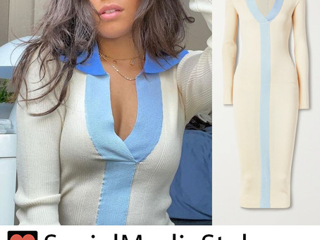 Camila Cabello's blue and cream knit dress