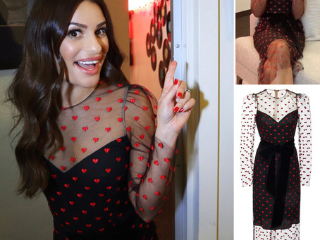 Lea Michele's heart embroidered black dress from The Kelly Clarkson Show