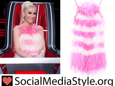 Gwen Stefani's pink and white feather dress from The Voice