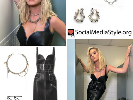 Katy Perry's leather dress, chain accessories, and lace up sandals from American Idol