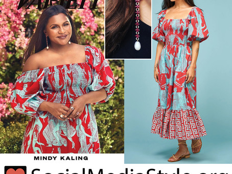 Mindy Kaling's print puff sleeve dress and diamond and ruby jewelry from Variety