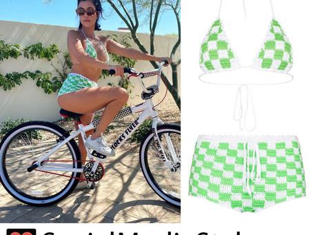 Kourtney Kardashian's green checkerboard crochet bikini