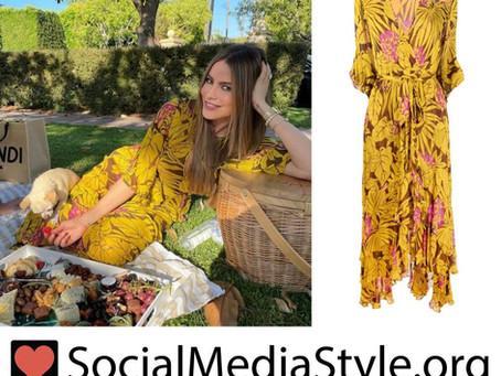 Sofia Vergara's yellow floral palm print dress