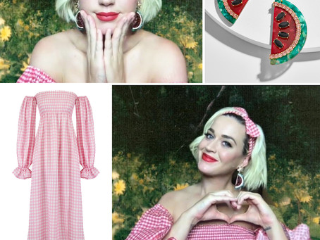 Katy Perry's watermelon earrings and off the shoulder gingham dress