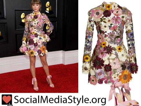 Taylor Swift's floral-embroidered dress and lace up pink sandals from the Grammy Awards