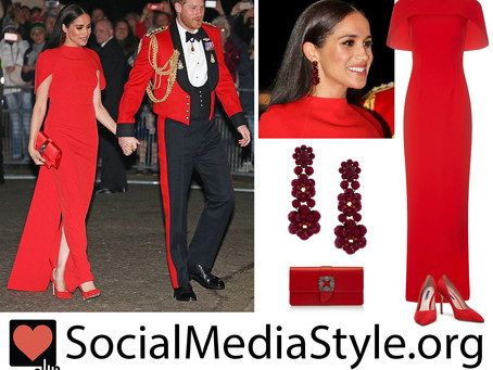 Meghan Markle's red cape gown and accessories from the Mountbatten Music Festival