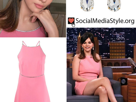 Selena Gomez's earrings, pink dress, and silver sandals from The Tonight Show Starring Jimmy Fallon