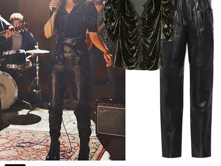 Mandy Moore's green velvet top and leather pants
