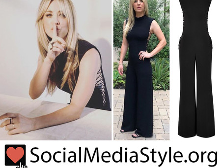 Kaley Cuoco's lace up black jumpsuit from the 2019 Summer TCA Press Tour