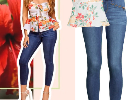 Sofia Vergara's floral print knot front top and skinny jeans
