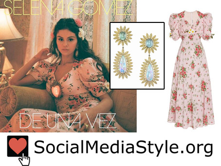 Selena Gomez's floral print dress and opal earrings from the De Una Vez video