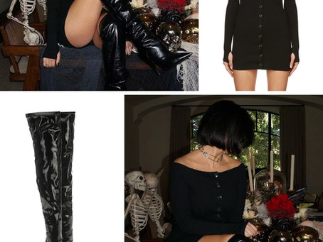 Kourtney Kardashian's black button up off-the-shoulder dress and patent leather over-the-knee boots