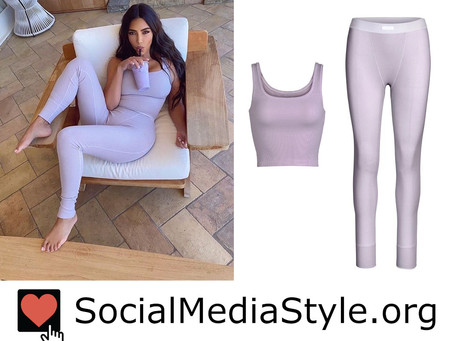 Kim Kardashian's Skims lavender ribbed tank and leggings