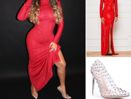 Beyonce's red sequin gown and crystal pvc pumps