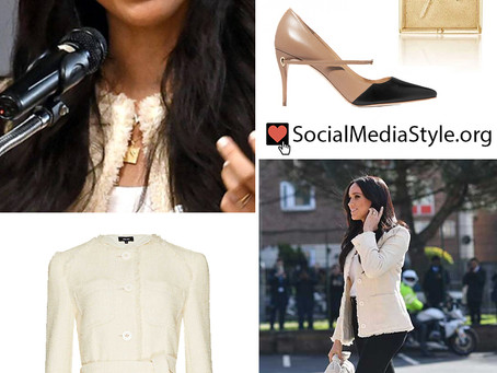 Meghan Markle's belted cream jacket, square necklace, knotted bag, and two-tone pumps