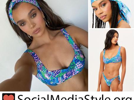Hailee Steinfeld x Frankies Bikinis blue floral print head scarf and bikini