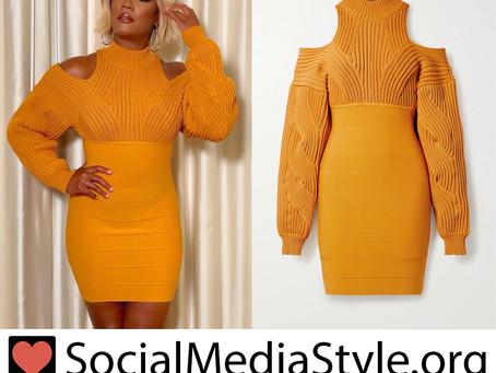 Tiffany Haddish's orange cold shoulder knit and bandage dress