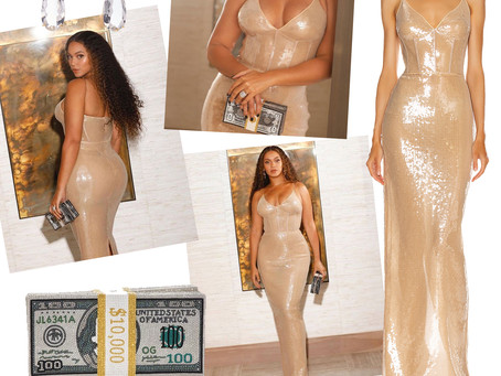 Beyonce's branch earrings, nude sequin gown, and money clutch