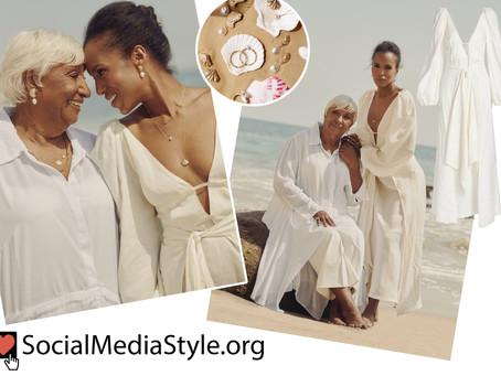 Kerry Washington's shell themed jewelry and white puff sleeve dress