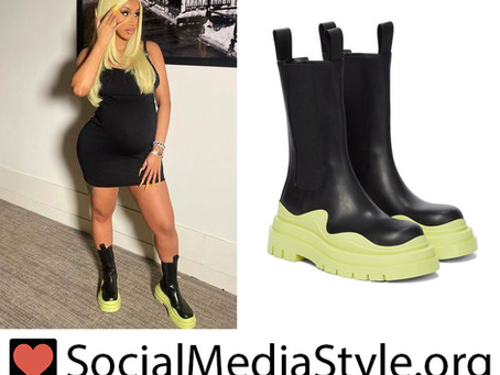 Cardi B's black and green boots