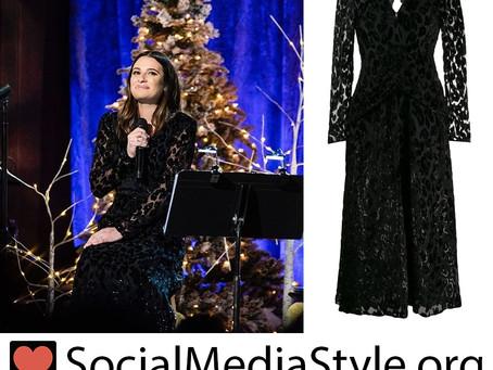 Lea Michele's metallic black leopard dress