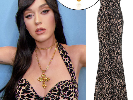 Katy Perry's cross necklace and panther print dress from American Idol