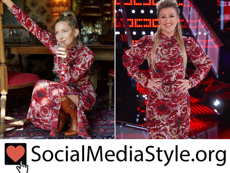 Kate Hudson and Kelly Clarkson's red floral print dress