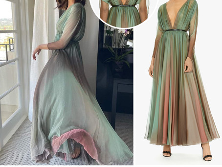 Gal Gadot's green and pink pleated silk chiffon dress from Vanity Fair Cocktail Hour, Live!