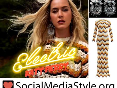 Katy Perry's dove earrings and crochet chevron dress
