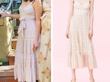 Zooey Deschanel's striped tiered dress