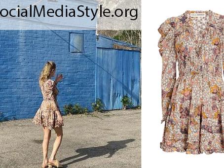 Brie Larson's floral print puff sleeve dress