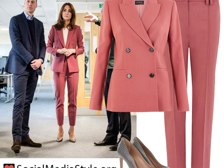 Kate Middleton's pink suit and grey pumps