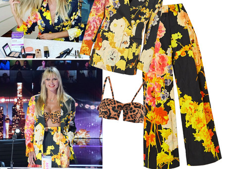Heidi Klum's floral print blazer and pants and leopard print bra top from America's Got Talent