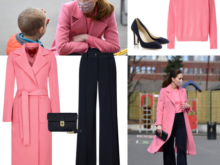 Kate Middleton's pink and navy outfit